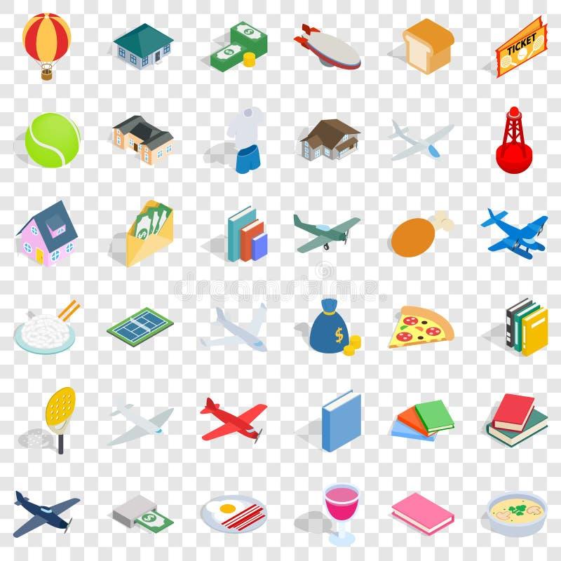 Grupo dos ícones da abundância, estilo isométrico ilustração do vetor