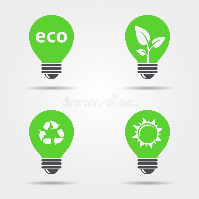 Grupo dos ícones da ampola de ECO ilustração stock