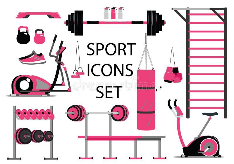 Grupo dos ícones da aptidão e do esporte Símbolo saudável do estilo de vida Estilo liso ilustração royalty free