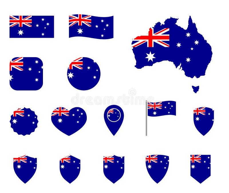Grupo dos ícones da bandeira de Austrália, bandeira nacional da comunidade de Austrália ilustração stock