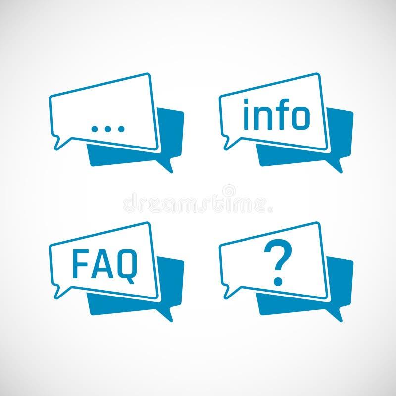 Grupo dos ícones da bolha do discurso do bate-papo Ícones da mensagem e da informação, FAQ e ícones da pergunta Elemento do ícone ilustração do vetor