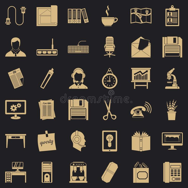 Grupo dos ícones da chancelaria, estilo simples ilustração stock