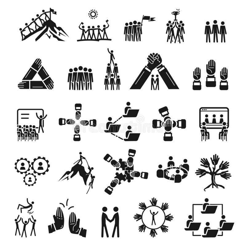 Grupo dos ícones da coesão, estilo simples ilustração do vetor