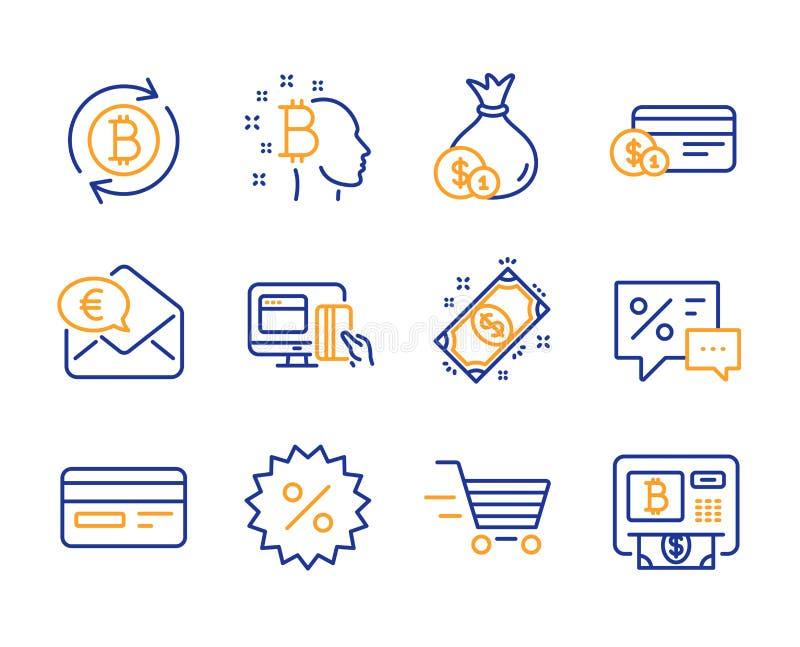 Grupo dos ícones da compra do pagamento, do dinheiro e da entrega O pagamento em linha, refresca sinais do bitcoin e do dinheiro  ilustração royalty free