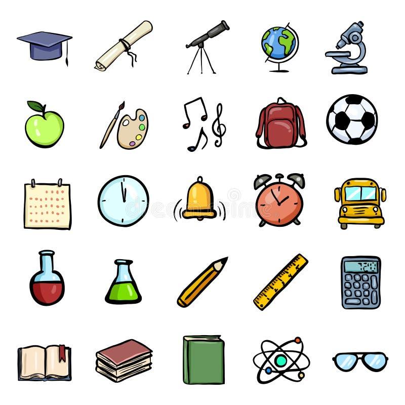Grupo dos ícones da educação da garatuja dos desenhos animados da cor do vetor ?cones do assunto da universidade e de escola ilustração royalty free