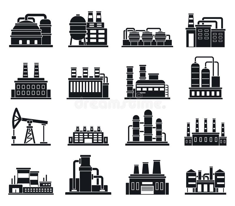 Grupo dos ícones da fábrica da planta de refinaria, estilo simples ilustração royalty free