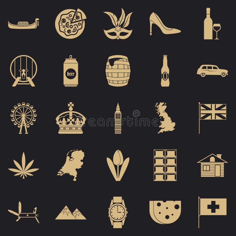 Grupo dos ?cones da fam?lia real, estilo simples ilustração royalty free
