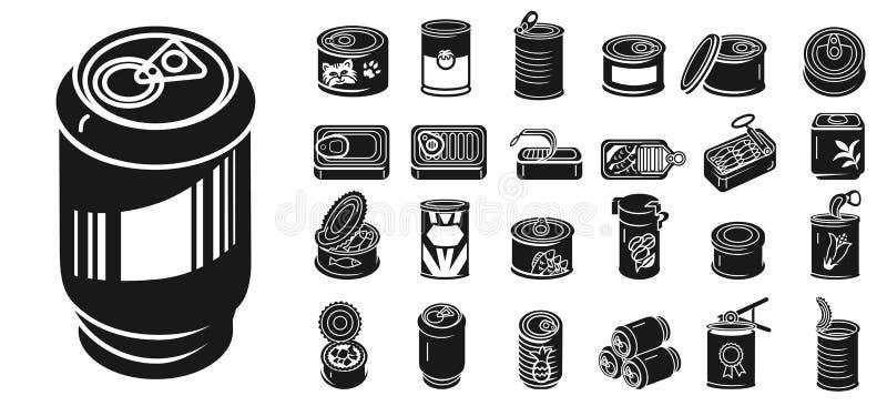 Grupo dos ícones da lata de lata, estilo simples ilustração stock