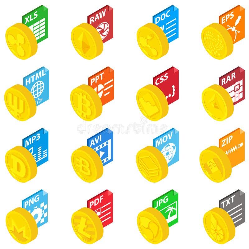 Grupo dos ícones da moeda da expansão, estilo isométrico ilustração royalty free