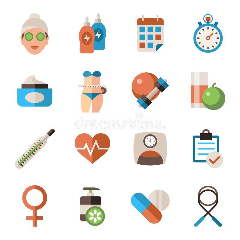 Grupo dos ícones da saúde da mulher de Digitas ilustração stock