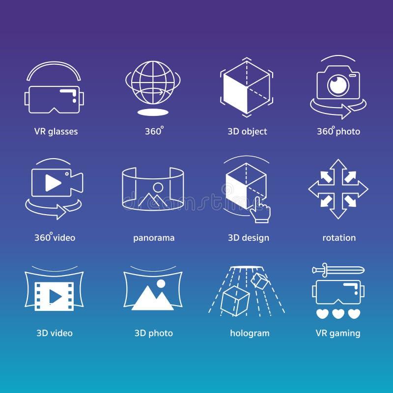 Grupo dos ícones da tecnologia da realidade virtual de VR ilustração stock