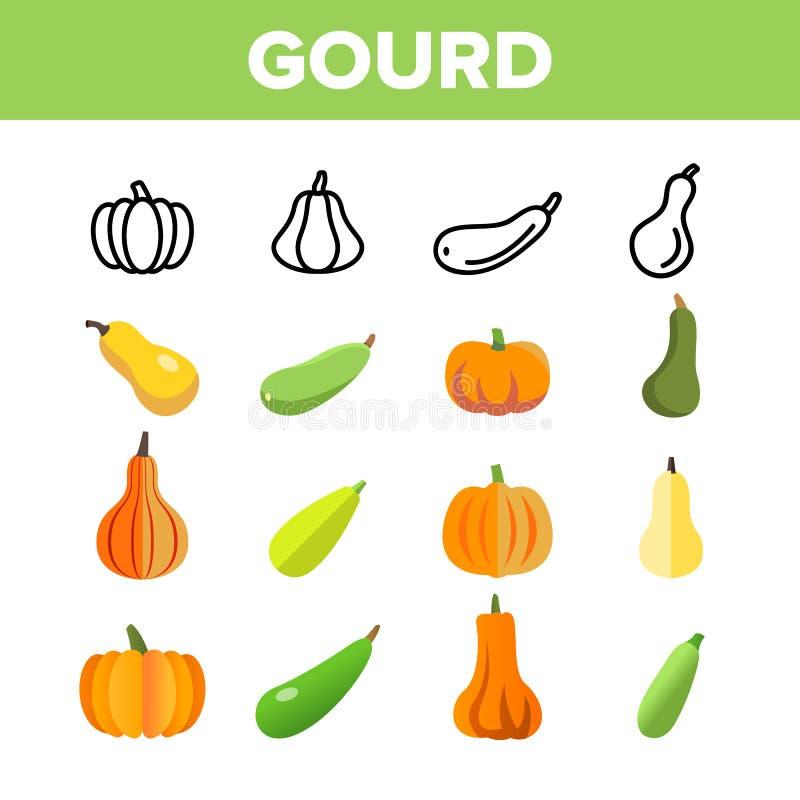Grupo dos ícones de Autumn Season Harvest Vetora Linear da cabaça ilustração stock