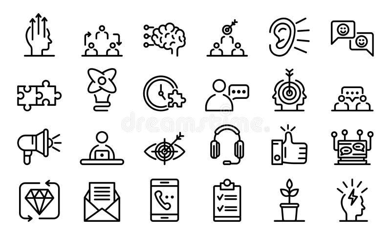 Grupo dos ícones de CRM, estilo do esboço ilustração stock