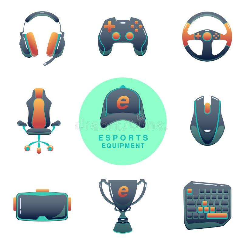 Grupo dos ícones de Esports da cor Competiam do jogo Dispositivos do jogo do vetor Ilustração do cybersport de Infographic ilustração do vetor