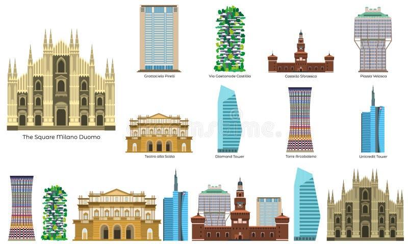 Grupo dos ícones de Milão, estilo liso ilustração royalty free
