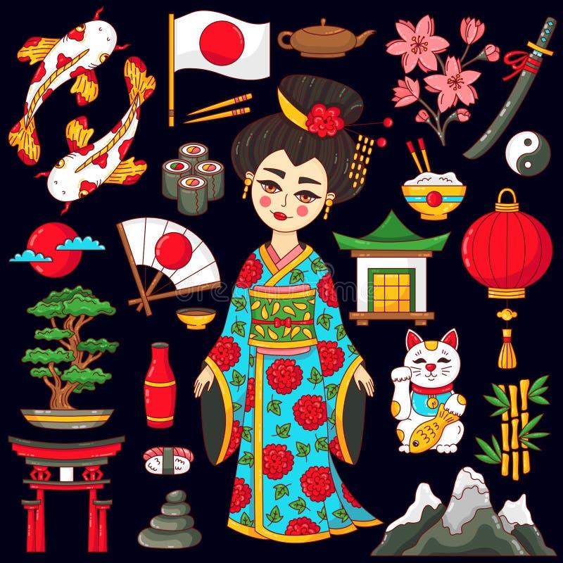 Grupo dos ícones dos desenhos animados da garatuja de Japão ilustração do vetor