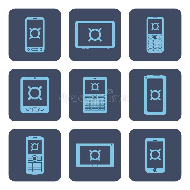 Grupo dos ícones - dispositivos móveis com símbolos de moeda em telas ilustração do vetor
