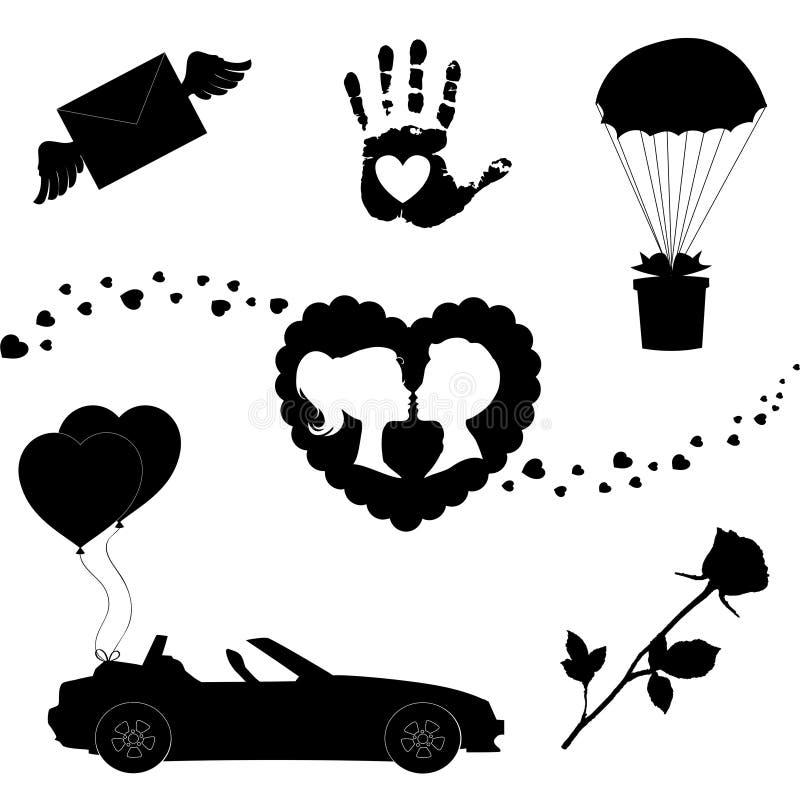 Grupo dos ícones do amor do vetor de 7 sinais da silhueta do Valentim no fundo branco ilustração stock