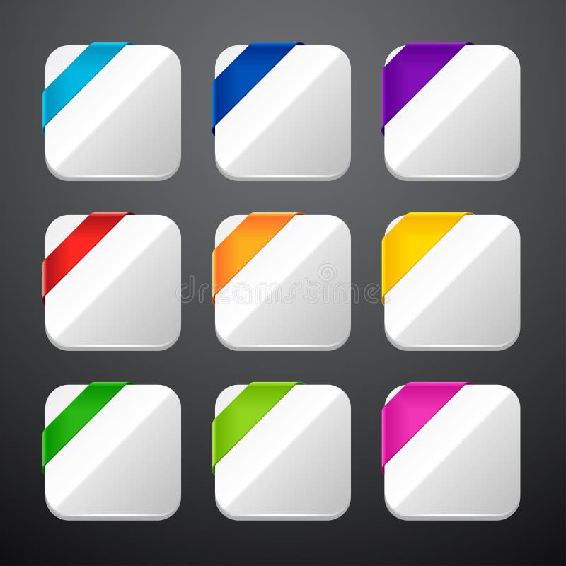 Grupo dos ícones do app com fitas ilustração stock