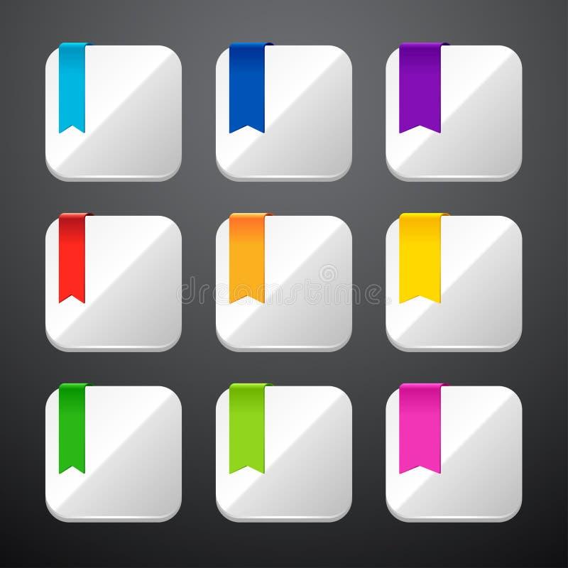 Grupo dos ícones do app com fitas ilustração do vetor