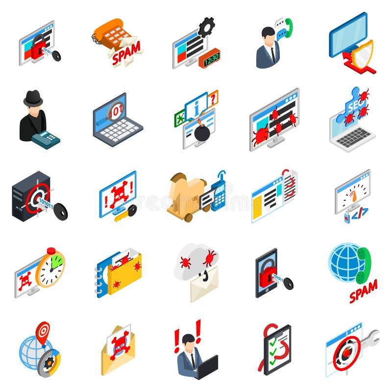 Grupo dos ícones do ataque do Cyber, estilo isométrico ilustração royalty free