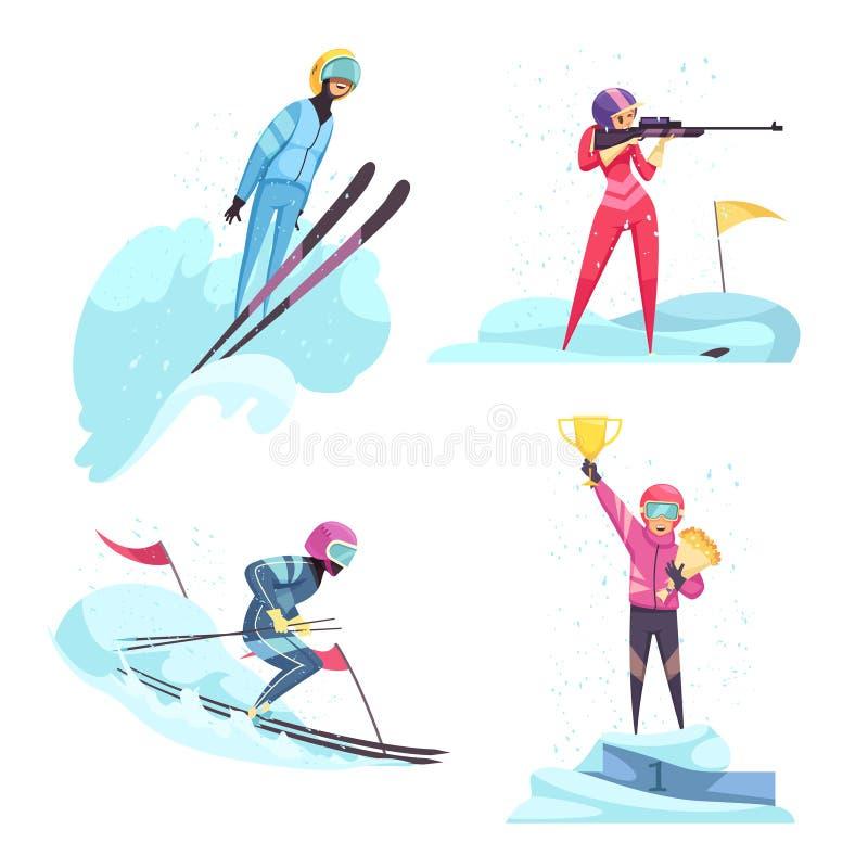 Grupo dos ícones do conceito dos esportes de inverno ilustração royalty free