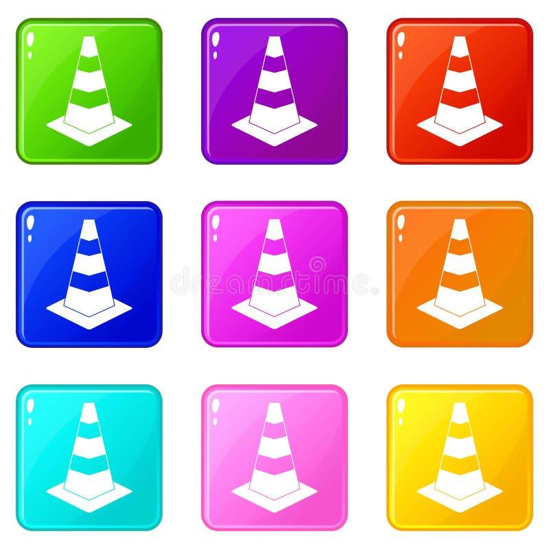 Grupo dos ícones 9 do cone do tráfego ilustração do vetor