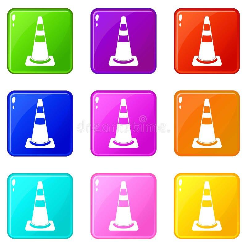 Grupo dos ícones 9 do cone do tráfego ilustração stock