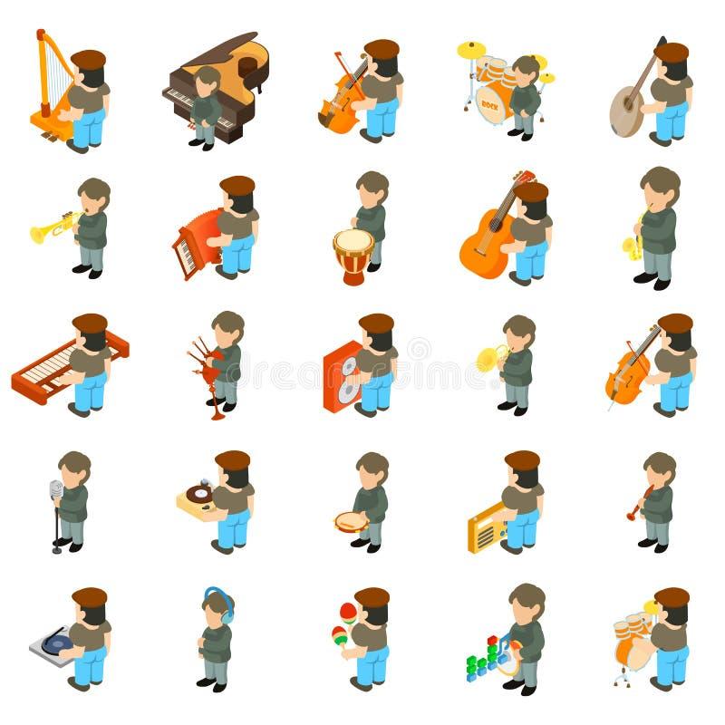 Grupo dos ícones do curso da música, estilo isométrico ilustração stock
