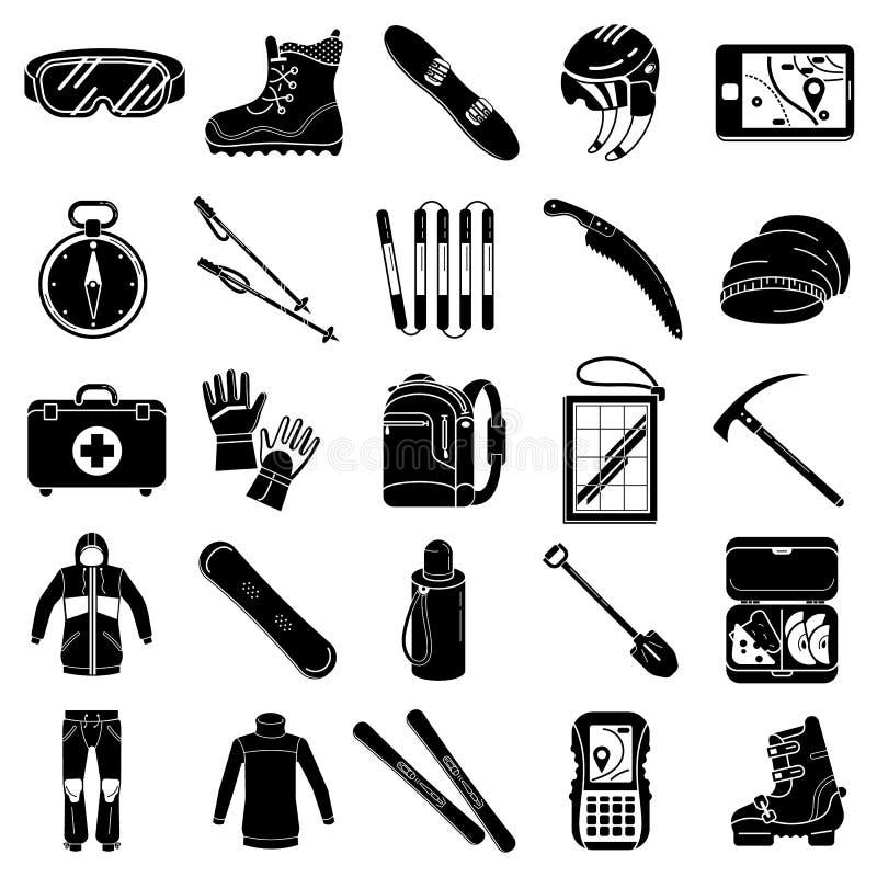 Grupo dos ícones do equipamento da snowboarding, estilo simples ilustração stock