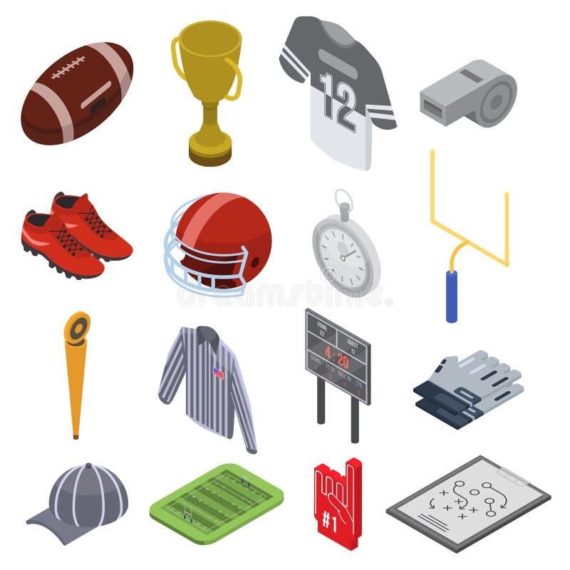 Grupo dos ícones do equipamento do futebol americano, estilo isométrico ilustração royalty free