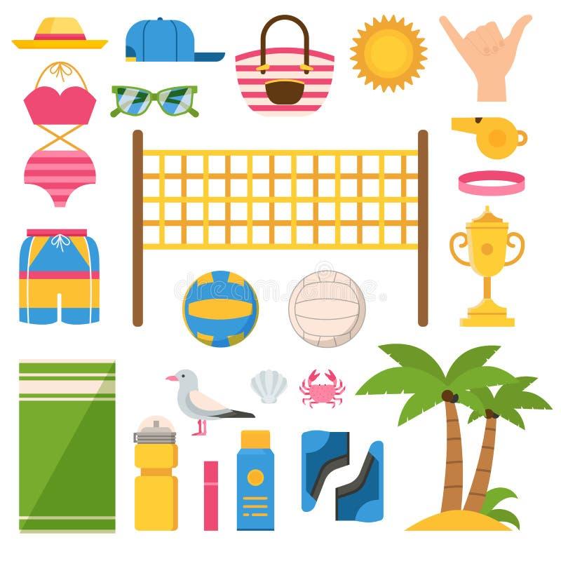 Grupo dos ícones do equipamento do voleibol de praia ilustração do vetor