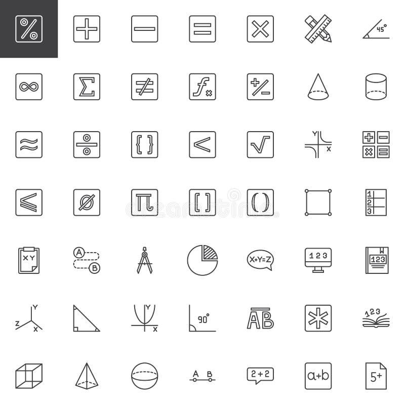 Grupo dos ícones do esboço da matemática ilustração do vetor
