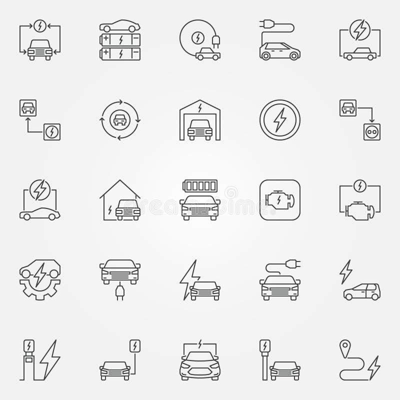 Grupo dos ícones do esboço do veículo elétrico Sinal todo-elétrico do carro do vetor ilustração stock