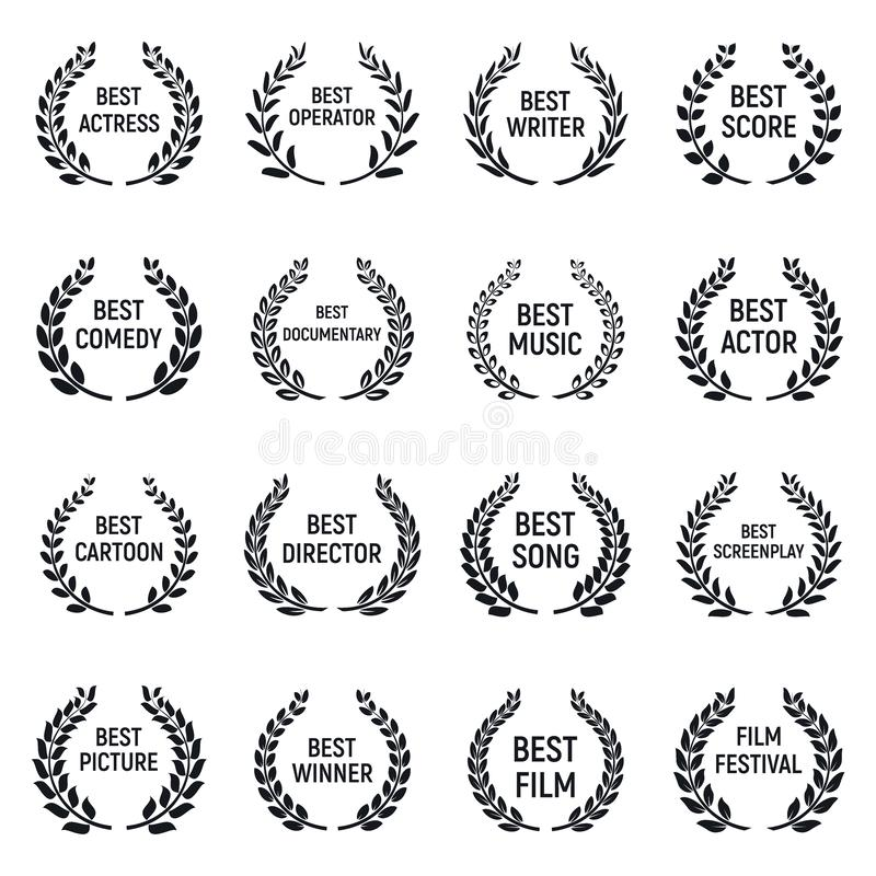 Grupo dos ícones do festival de cinema, estilo simples ilustração do vetor