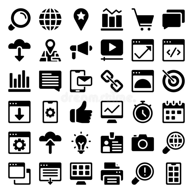 Grupo dos ícones do Glyph da Web ilustração royalty free