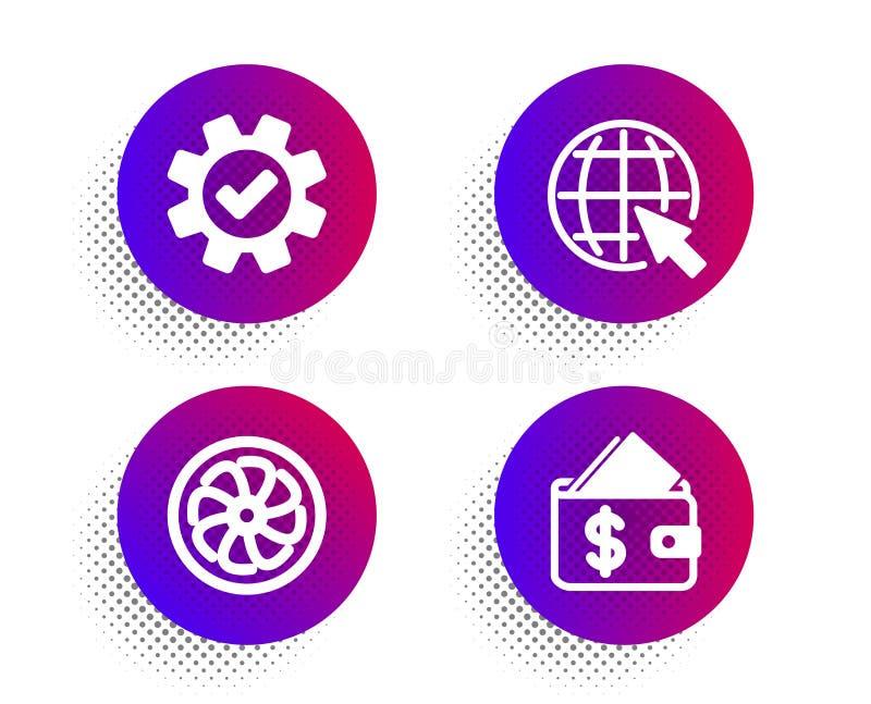 Grupo dos ícones do motor do Internet, do serviço e do fã Sinal da carteira Web do mundo, engrenagem da roda denteada, ventilador ilustração do vetor