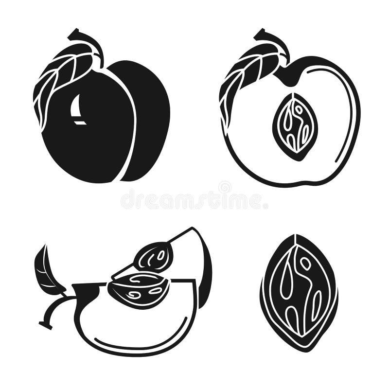 Grupo dos ícones do pêssego, estilo simples ilustração stock