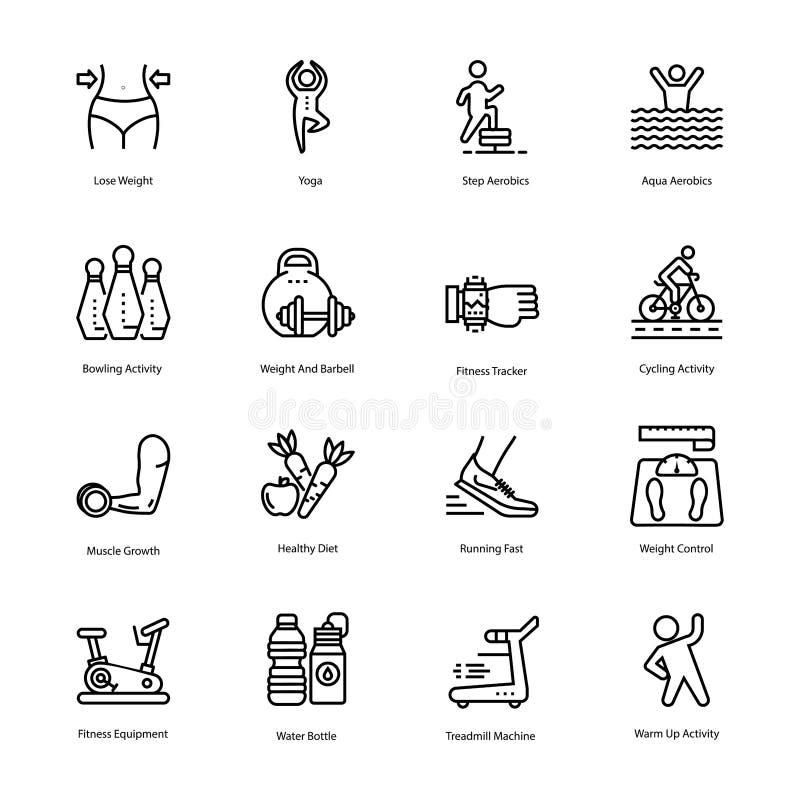 Grupo dos ícones do plano do exercício e da dieta ilustração stock