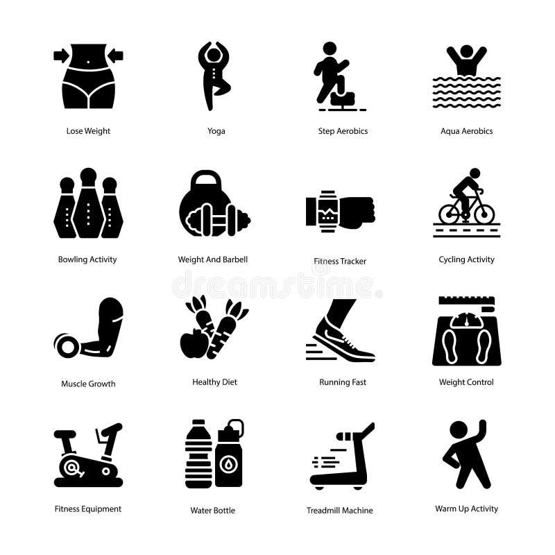 Grupo dos ícones do plano do exercício e da dieta ilustração royalty free