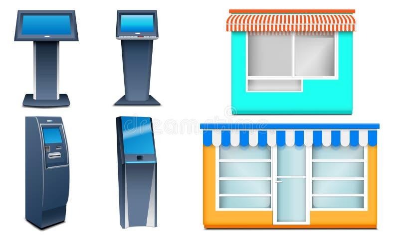 Grupo dos ícones do quiosque, estilo realístico ilustração do vetor