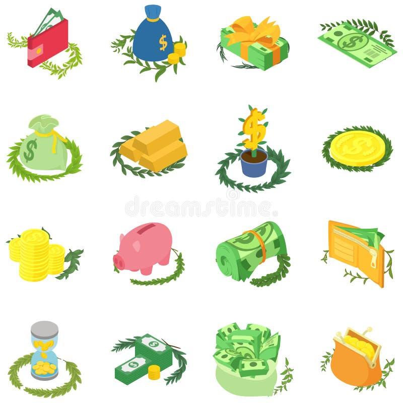 Grupo dos ícones do sinal do dinheiro, estilo isométrico ilustração royalty free