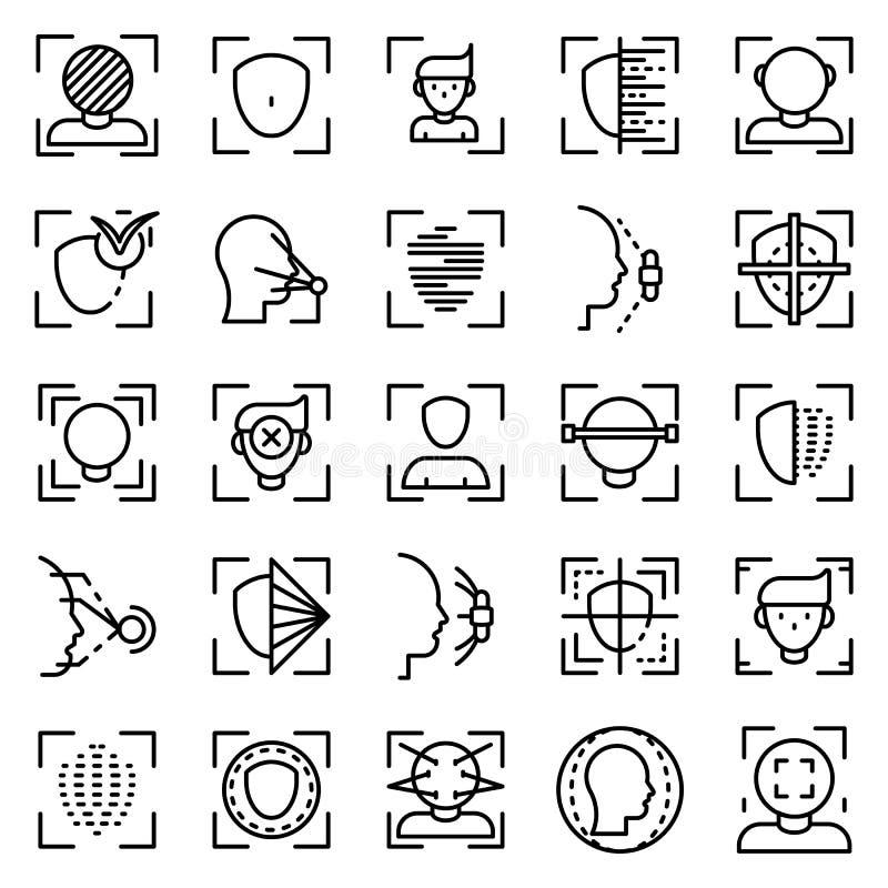 Grupo dos ícones do sistema de reconhecimento de cara, estilo do esboço ilustração stock