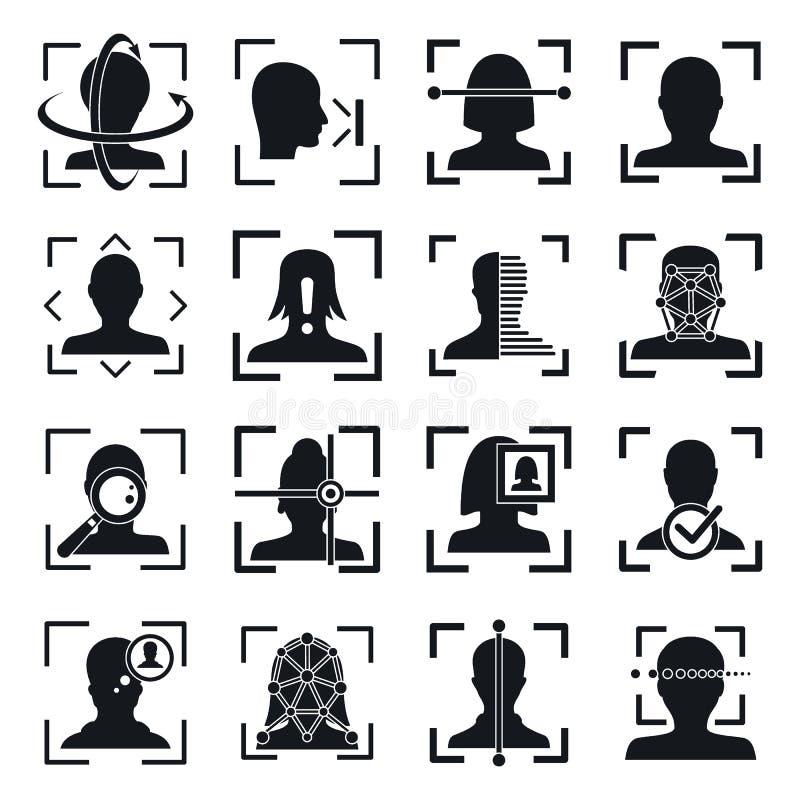 Grupo dos ícones do sistema identificação do reconhecimento de cara, estilo simples ilustração stock