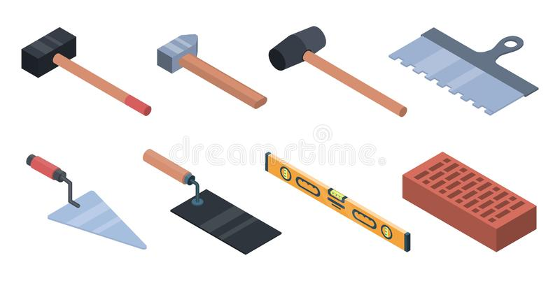 Grupo dos ícones do trabalhador da alvenaria, estilo isométrico ilustração stock