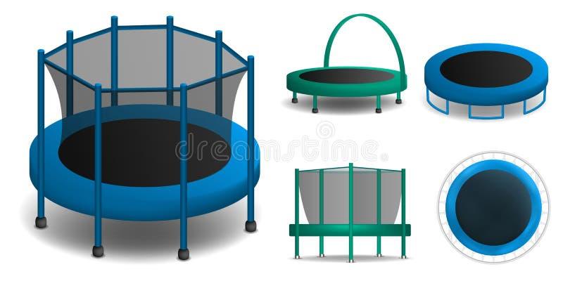Grupo dos ícones do trampolim, estilo realístico ilustração stock