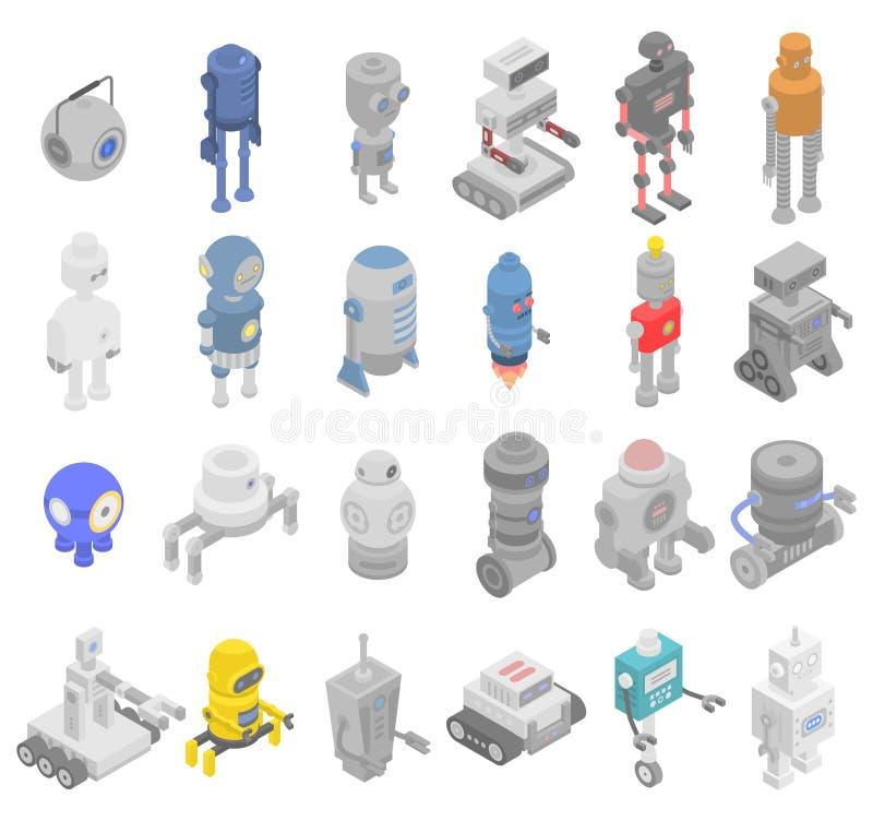 Grupo dos ícones do transformador do robô, estilo isométrico ilustração royalty free