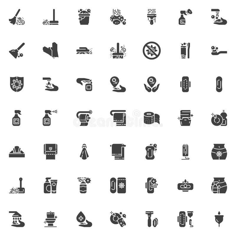 Grupo dos ícones do vetor da higiene ilustração royalty free