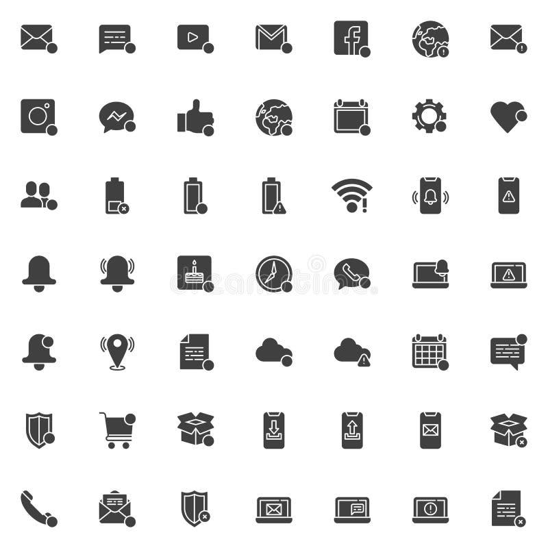 Grupo dos ícones do vetor das notificações ilustração stock