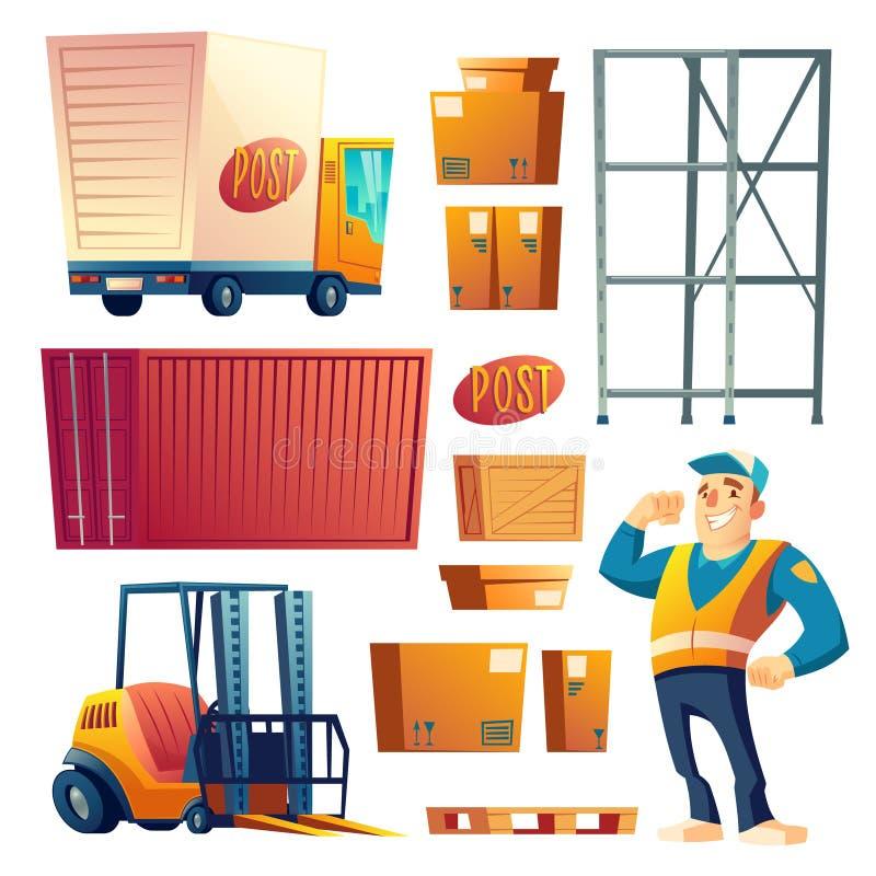 Grupo dos ícones do vetor dos desenhos animados do serviço de entrega postal ilustração stock